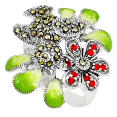 Red garnet quartz swiss marcasite enamel 925 silver ring size 7.5 c15965
