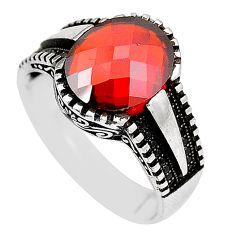 6.18cts red garnet quartz topaz 925 sterling silver mens ring size 10.5 c11536