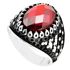 7.43cts red garnet quartz topaz 925 sterling silver mens ring size 9.5 c11458
