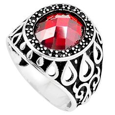 5.52cts red garnet quartz topaz 925 sterling silver mens ring size 9.5 c11543