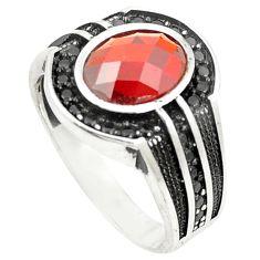 Red garnet quartz topaz 925 sterling silver mens ring size 9.5 c11507