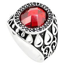 Red garnet quartz topaz 925 sterling silver mens ring size 10.5 c11449