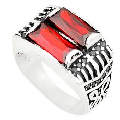 Red garnet quartz topaz 925 sterling silver mens ring size 8.5 c11408