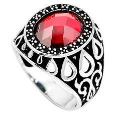 Red garnet quartz topaz 925 sterling silver mens ring size 9.5 c11478