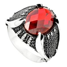 Red garnet quartz topaz 925 sterling silver mens ring size 10 c11435