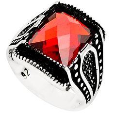 Red garnet quartz topaz 925 sterling silver mens ring size 8 c11460