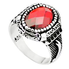 Red garnet quartz topaz 925 sterling silver mens ring size 9 c11464