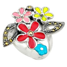 Red marcasite enamel 925 sterling silver flower ring jewelry size 6.5 c15931