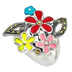 Red marcasite enamel 925 sterling silver flower ring jewelry size 7.5 c15927