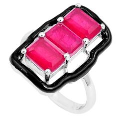 4.74cts red ruby (lab) enamel 925 silver solitaire ring jewelry size 6.5 c23598