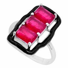 4.28cts red ruby (lab) enamel 925 sterling silver ring jewelry size 7 c19341