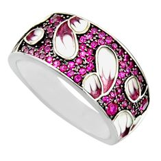 1.94cts red ruby (lab) enamel 925 sterling silver ring jewelry size 7 c9840