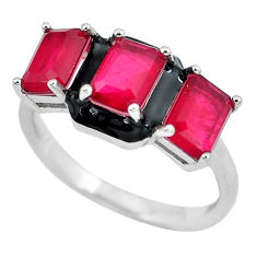 4.82cts red ruby (lab) enamel 925 sterling silver ring jewelry size 8 c23599