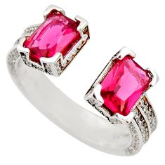 4.22cts red ruby (lab) topaz 925 sterling silver adjustable ring size 7 c9161