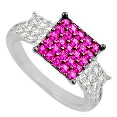2.98cts red ruby (lab) topaz 925 sterling silver ring jewelry size 6.5 c9364