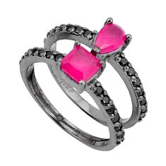 4.08cts red ruby (lab) topaz 925 sterling silver ring jewelry size 6 c19287