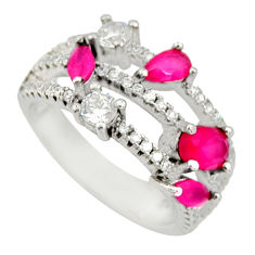 3.23cts red ruby (lab) topaz 925 sterling silver ring jewelry size 6 c9129