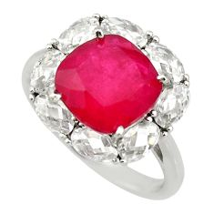 8.80cts red ruby (lab) topaz 925 sterling silver ring jewelry size 7 c9133
