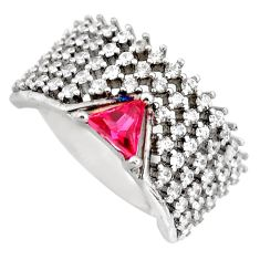 4.21cts red ruby (lab) topaz 925 sterling silver ring jewelry size 7 c9171