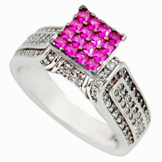 3.62cts red ruby (lab) topaz 925 sterling silver ring jewelry size 7 c9179