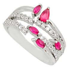 3.42cts red ruby (lab) topaz 925 sterling silver ring jewelry size 8 c9170