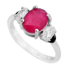 4.18cts red ruby (lab) topaz black enamel 925 sterling silver ring size 7 c19309