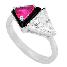7.62cts red ruby (lab) topaz black enamel 925 sterling silver ring size 8 c19303