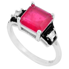 3.62cts red ruby (lab) topaz enamel 925 silver solitaire ring size 6 c23593