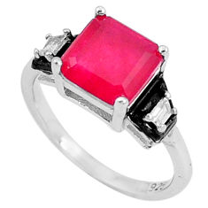 4.23cts red ruby (lab) topaz enamel 925 silver solitaire ring size 6 c23595