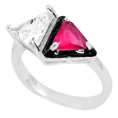5.96cts red ruby (lab) topaz enamel 925 silver solitaire ring size 7 c23592