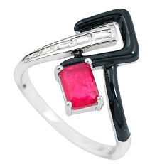 2.81cts red ruby (lab) topaz enamel 925 silver solitaire ring size 8 c23581