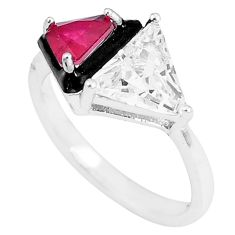5.38cts red ruby (lab) topaz enamel 925 silver solitaire ring size 8 c23583