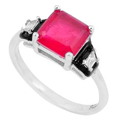 3.91cts red ruby (lab) topaz enamel 925 silver solitaire ring size 8 c23589