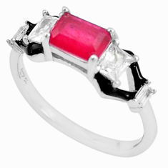 2.72cts red ruby (lab) topaz enamel 925 silver solitaire ring size 8 c23594