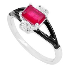 2.95cts red ruby (lab) topaz enamel 925 silver solitaire ring size 9 c20486