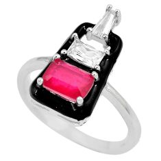 3.11cts red ruby (lab) topaz enamel 925 sterling silver ring size 7.5 c23596