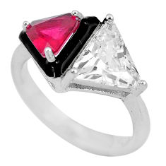 6.39cts red ruby (lab) topaz enamel 925 sterling silver ring size 6 c23588