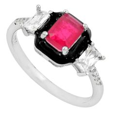 3.50cts red ruby (lab) topaz enamel 925 sterling silver ring size 7 c23582