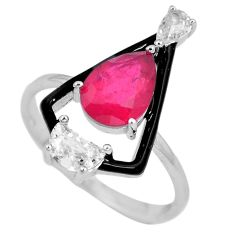 4.22cts red ruby (lab) topaz enamel 925 sterling silver ring size 8 c23597