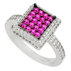 2.98cts red ruby (lab) white topaz 925 sterling silver ring jewelry size 7 c9361