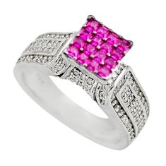3.62cts red ruby (lab) white topaz 925 sterling silver ring jewelry size 7 c9368