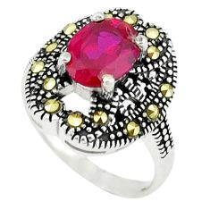 3.13cts red ruby quartz marcasite 925 sterling silver ring size 6.5 c17372