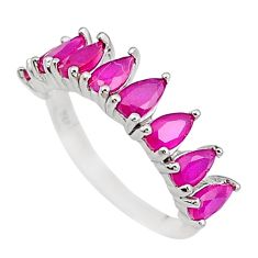 3.47cts red ruby quartz pear 925 sterling silver ring jewelry size 6 c19329