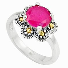 Red ruby quartz round 925 sterling silver ring jewelry size 6.5 c22295