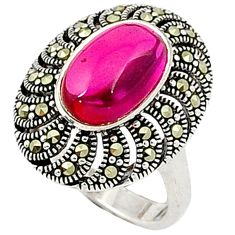 Red ruby quartz swiss marcasite 925 sterling silver ring jewelry size 7 c17588