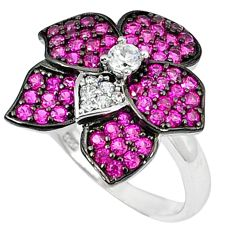Red ruby quartz topaz 925 sterling silver ring jewelry size 6.5 c23713