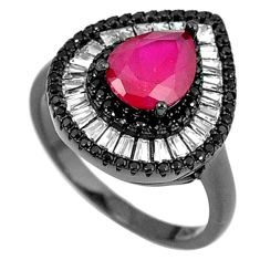 Red ruby quartz topaz black rhodium 925 sterling silver ring size 8.5 c25983