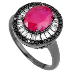Red ruby quartz topaz black rhodium 925 sterling silver ring size 8.5 c25986