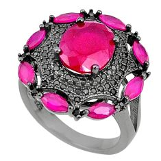 Red ruby quartz topaz rhodium 925 sterling silver ring jewelry size 6 c19220
