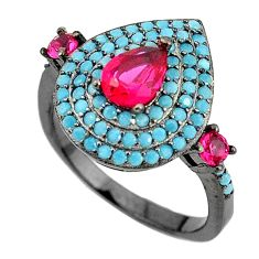 Red ruby quartz turquoise 925 sterling silver ring jewelry size 8 c25988